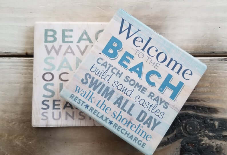 Small and Square Blue Sea Sayings Sign
