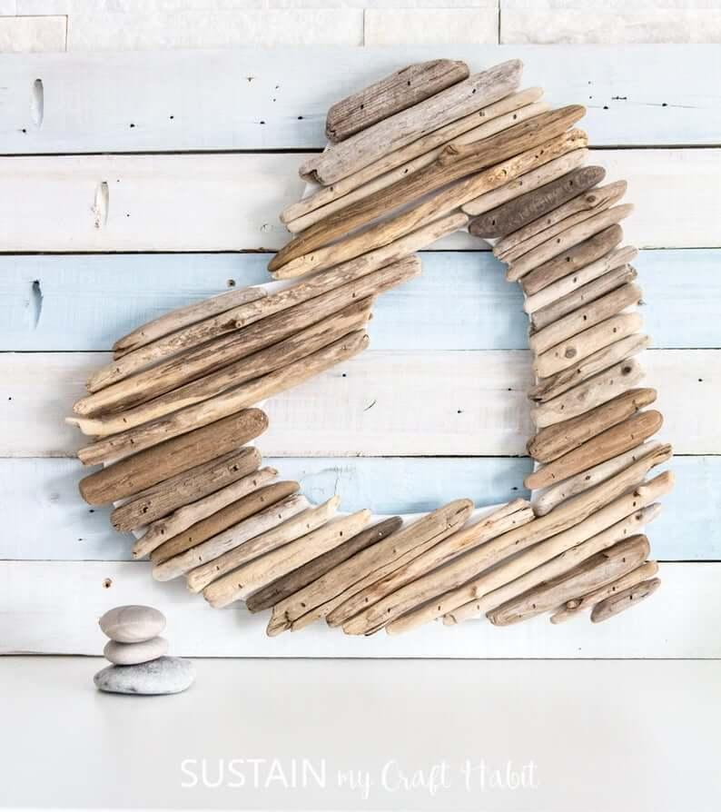 Rustic Coastal Driftwood Heart Wall Art