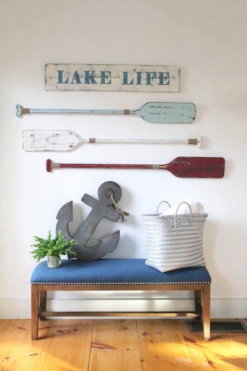 Lake Life Americana Oars Wall Art
