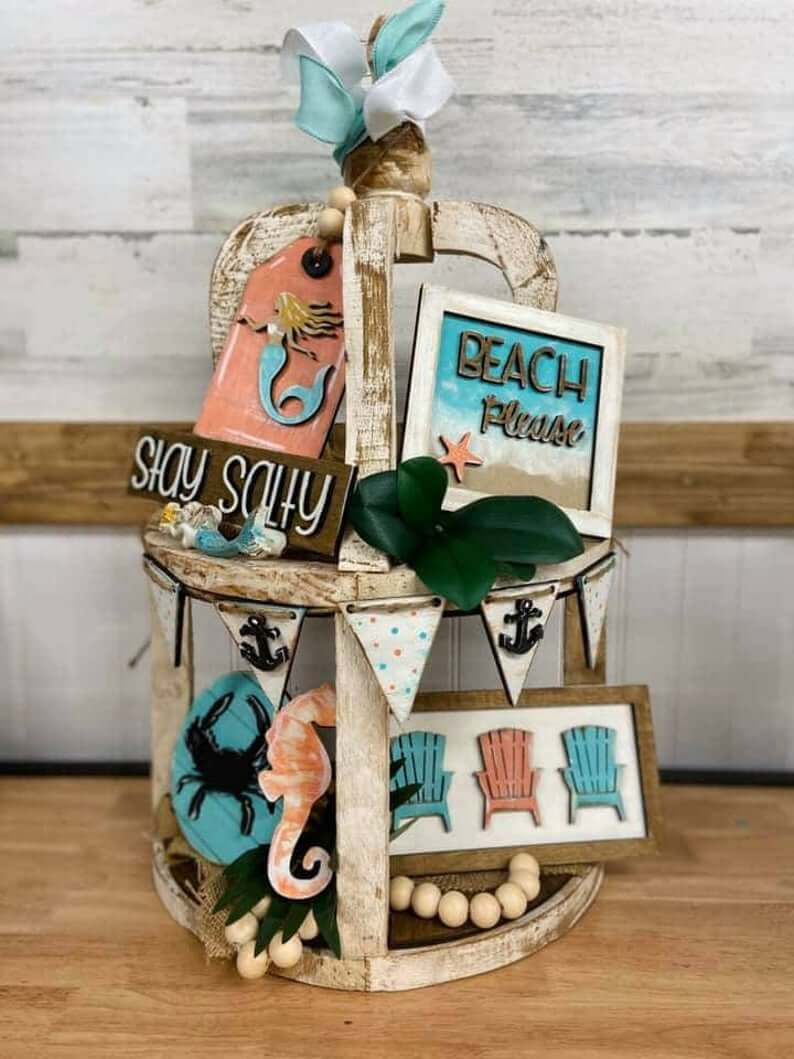 Stay Salty Beach Themed Tiered Tray Set