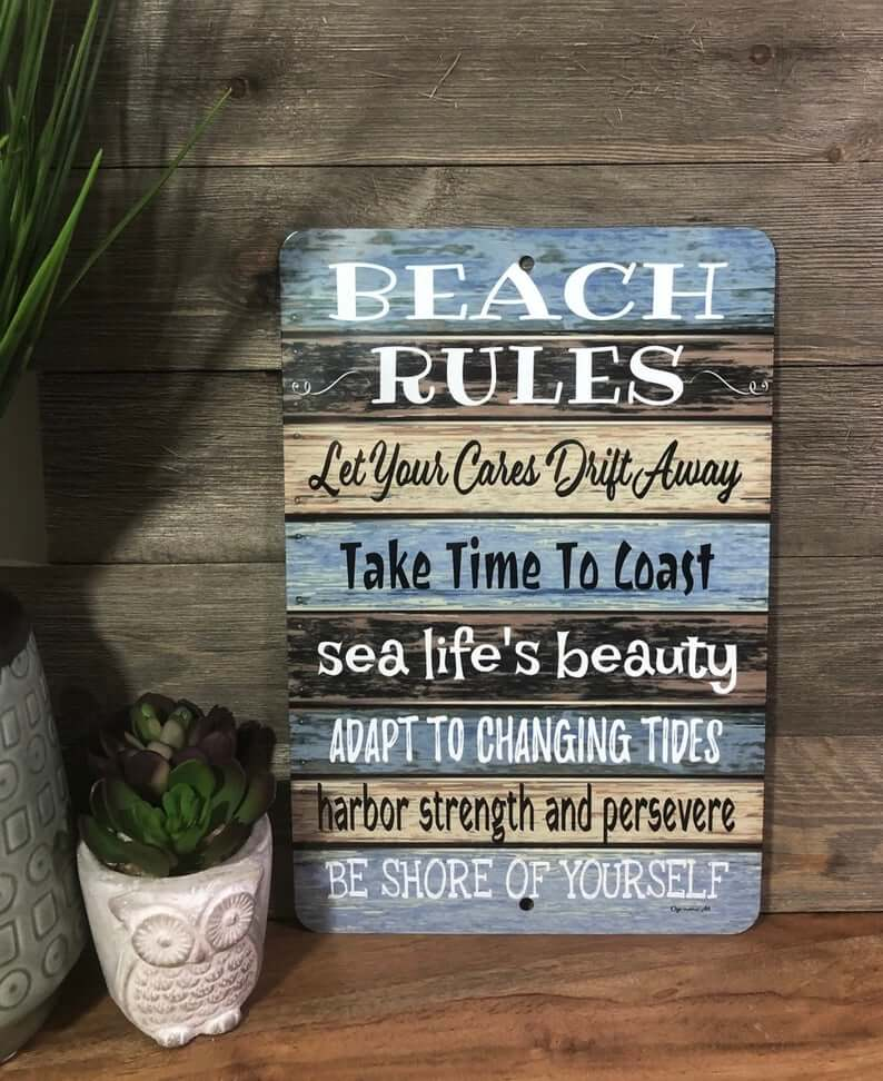 Beach Rules Brown and Blue Sign