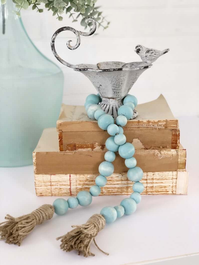Vintage Cup with Turquoise Beaded Tassel