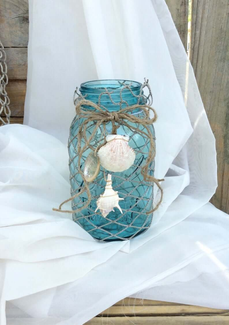 Surrounded with Sea Shells Blue Jar