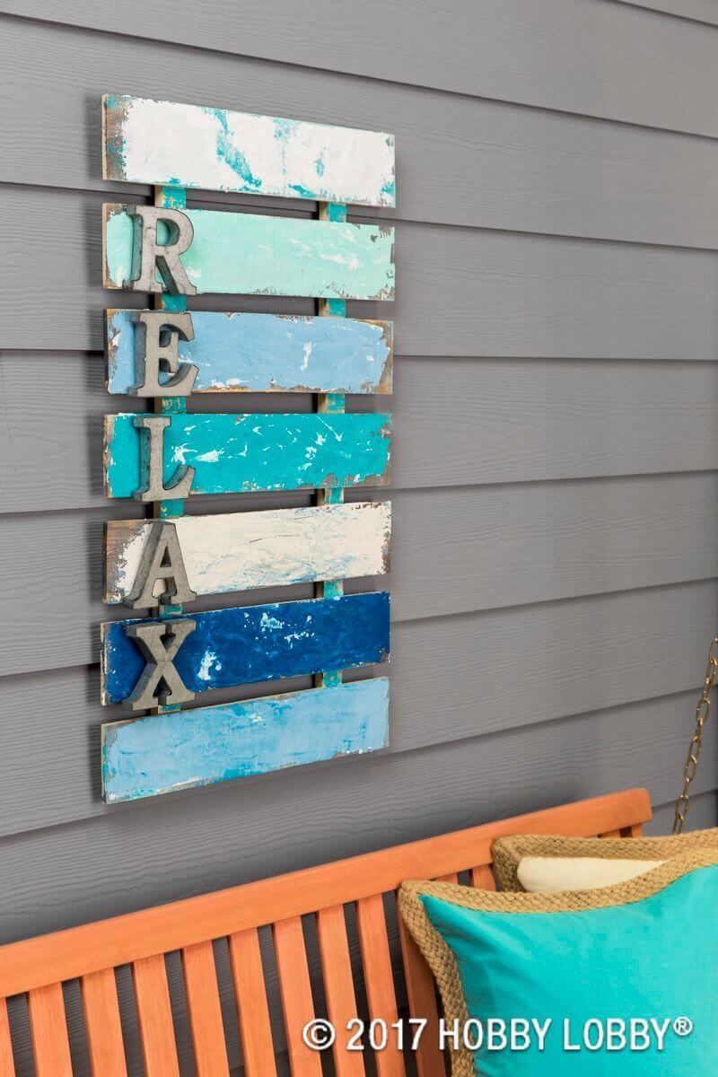 "Pallet Style ""Relax"" Sign with Metal Letters"