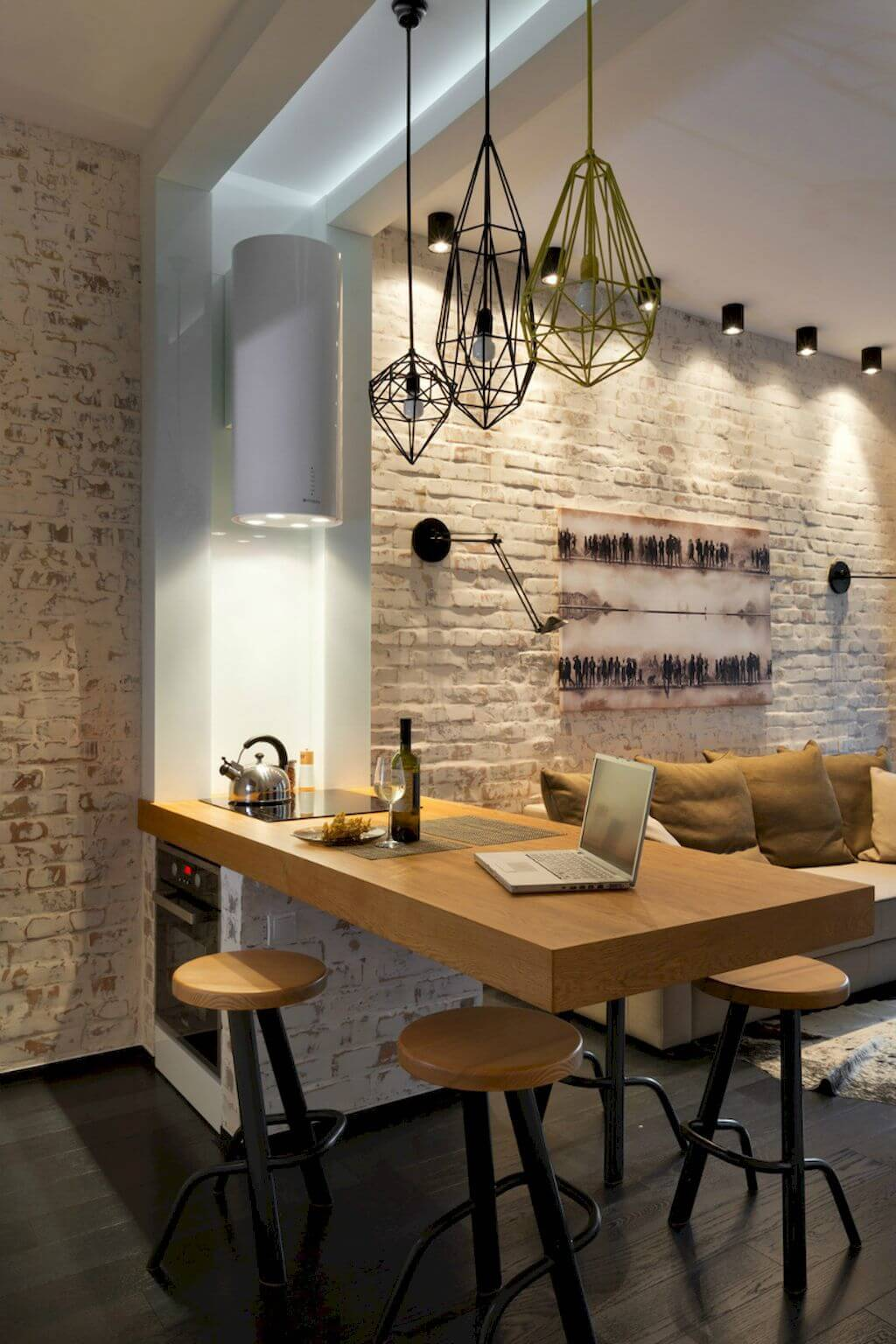 Exposed Brick and Industrial Light Fixtures