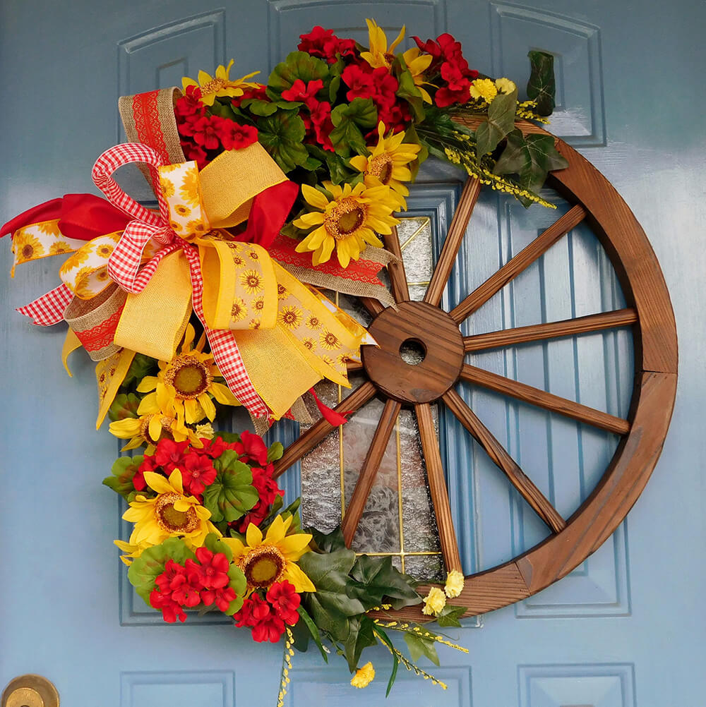 Cheerful Bright Wagon Wheel Wreath with Flowers