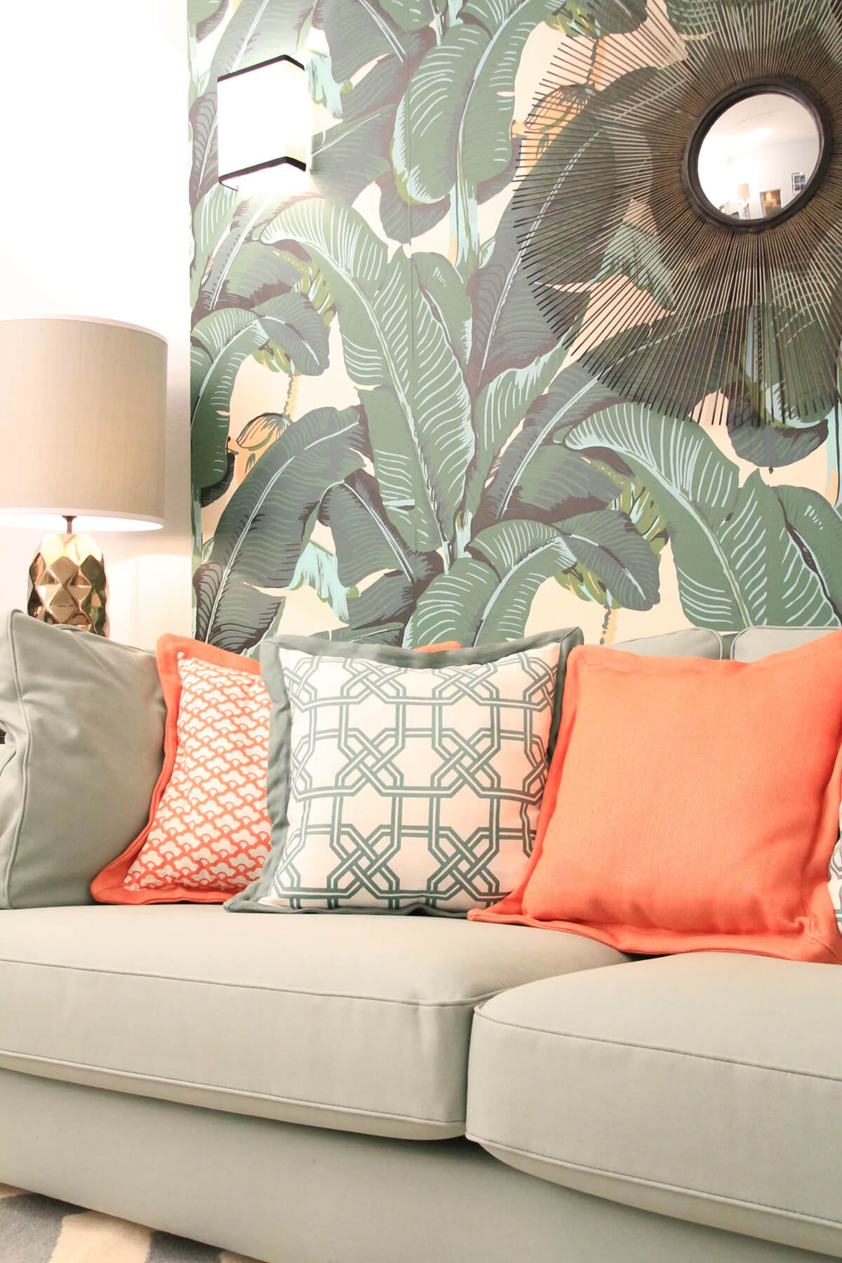 Banana Leaf Wallpaper and a Comfy Couch