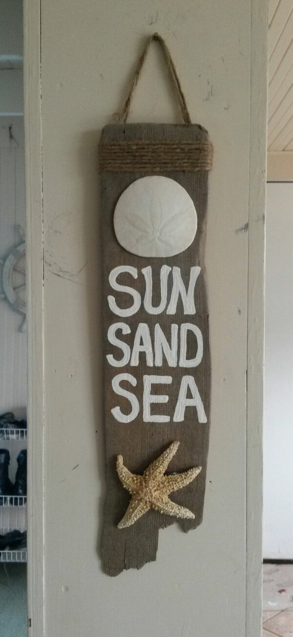 Driftwood Sign with Sand Dollar and Starfish