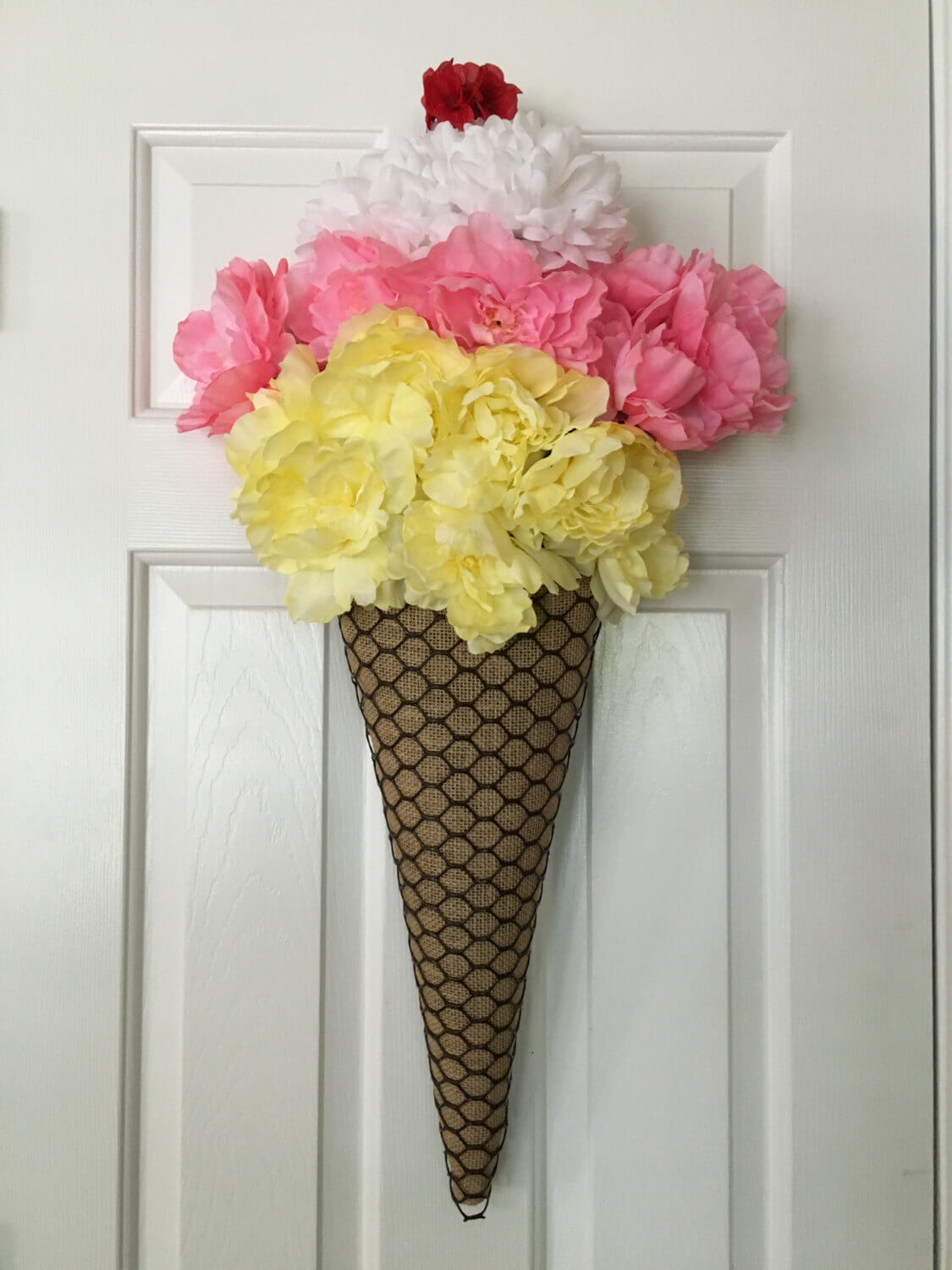 Funny Ice Cream Cone Wreath with Carnations