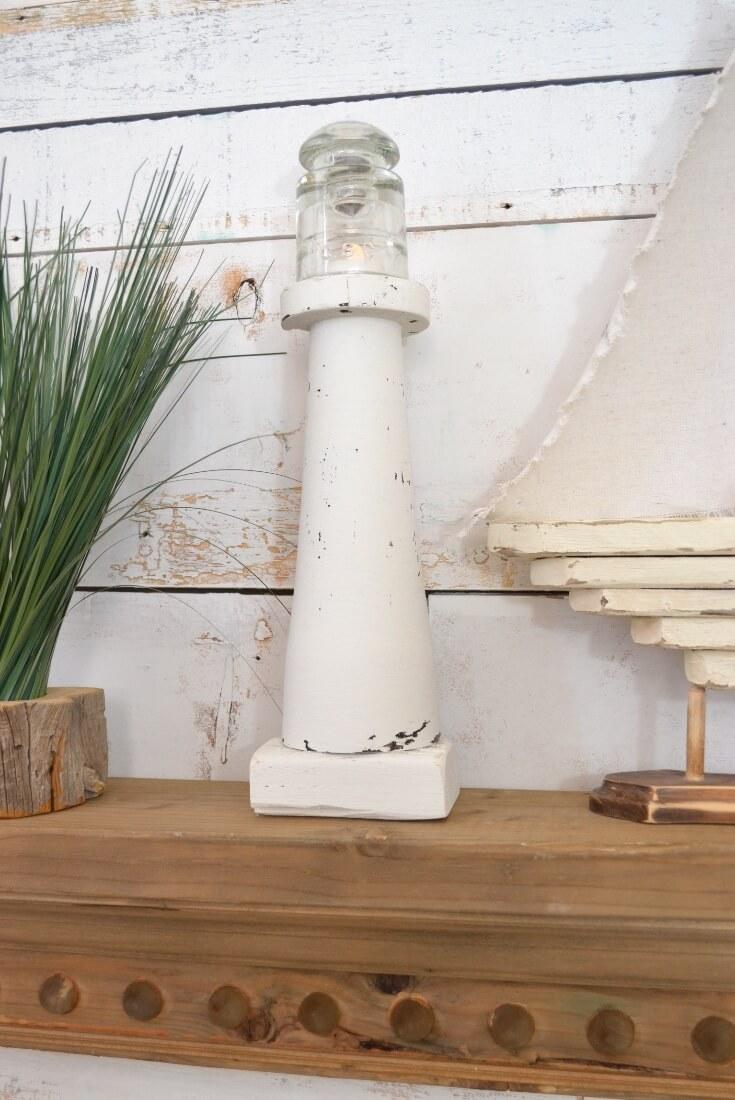 Miniature Homemade Spindle Lighthouse Décor
