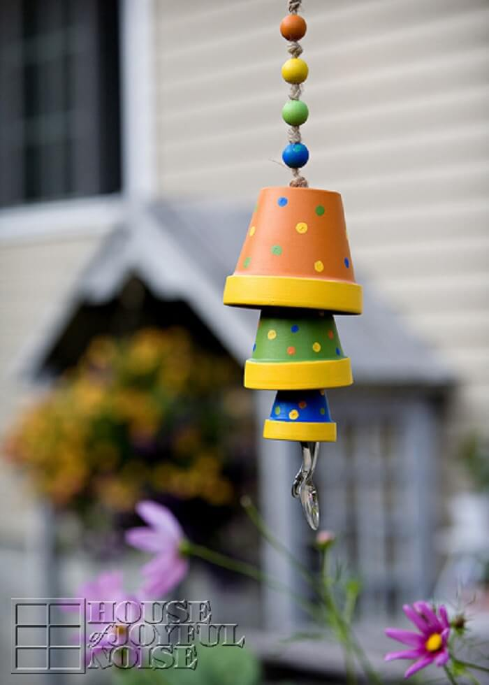 Painted Clay Flower Pot Wind Chime