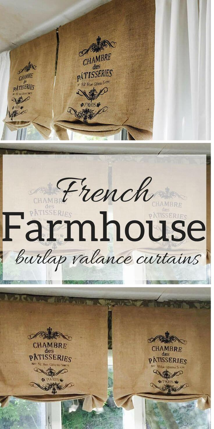 Burlap Valance Curtains with French Flair