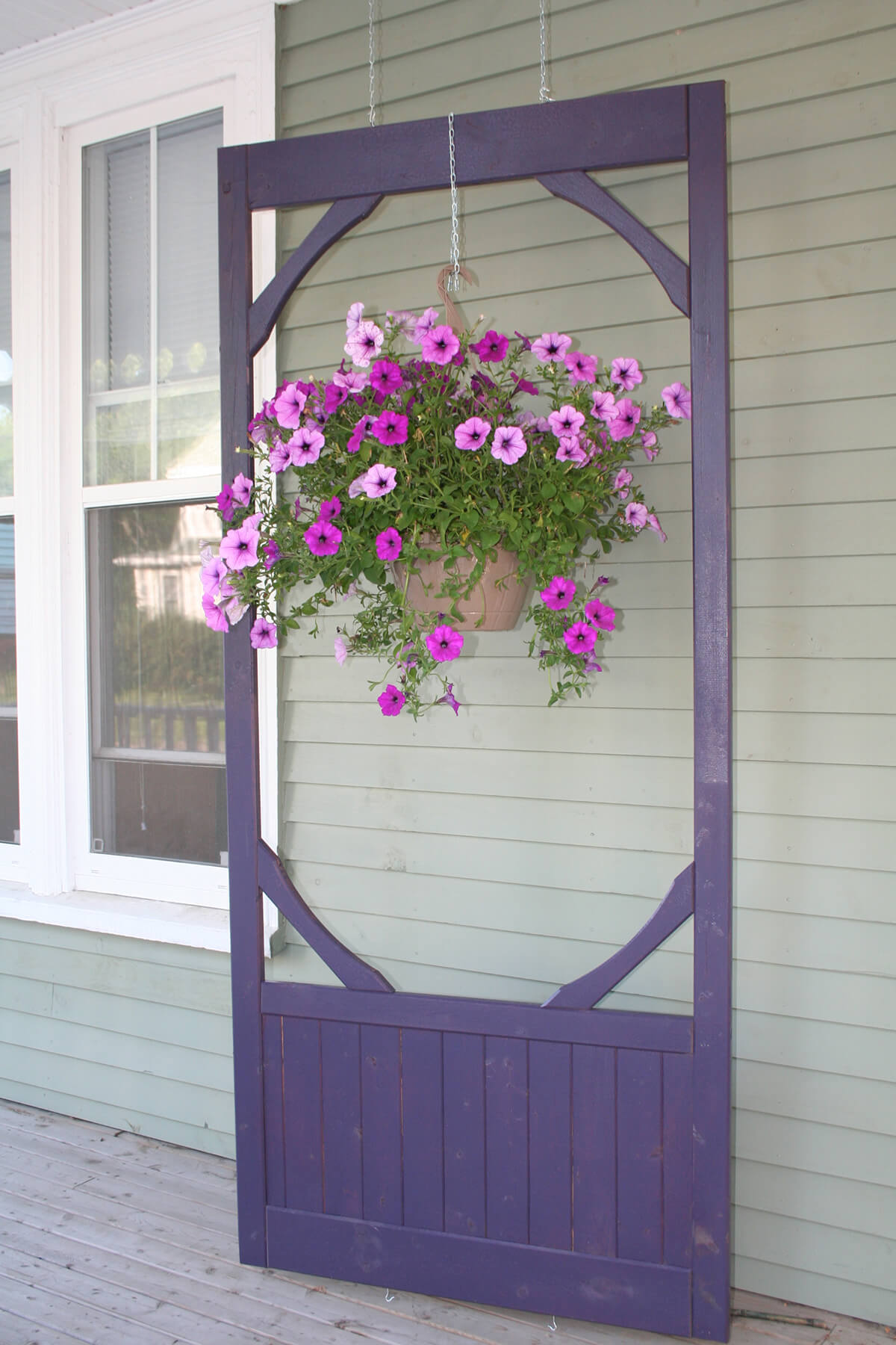 Hanging Screen Door with Bountiful Planter