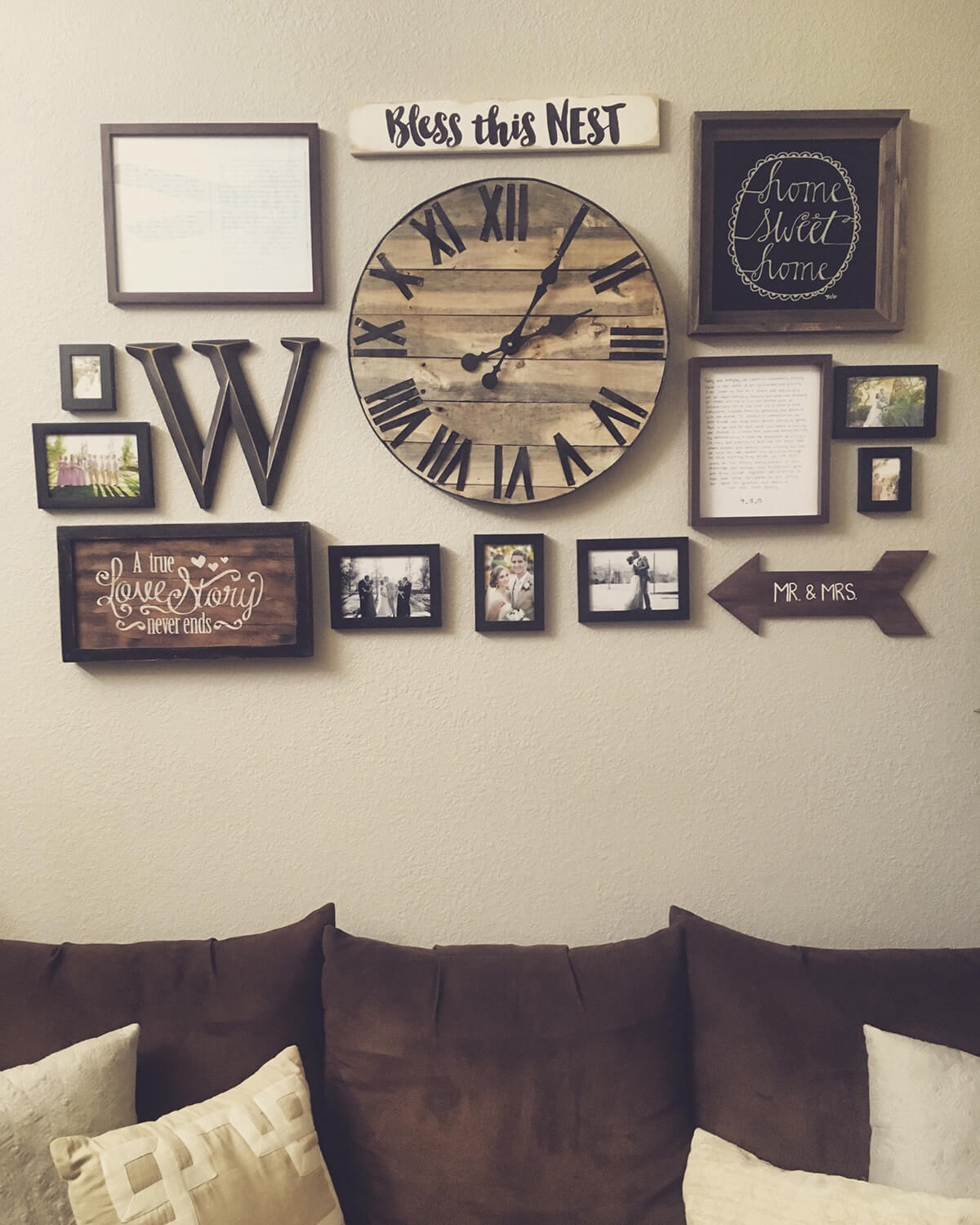 Wood Toned Clock, Frames, and Text Signs