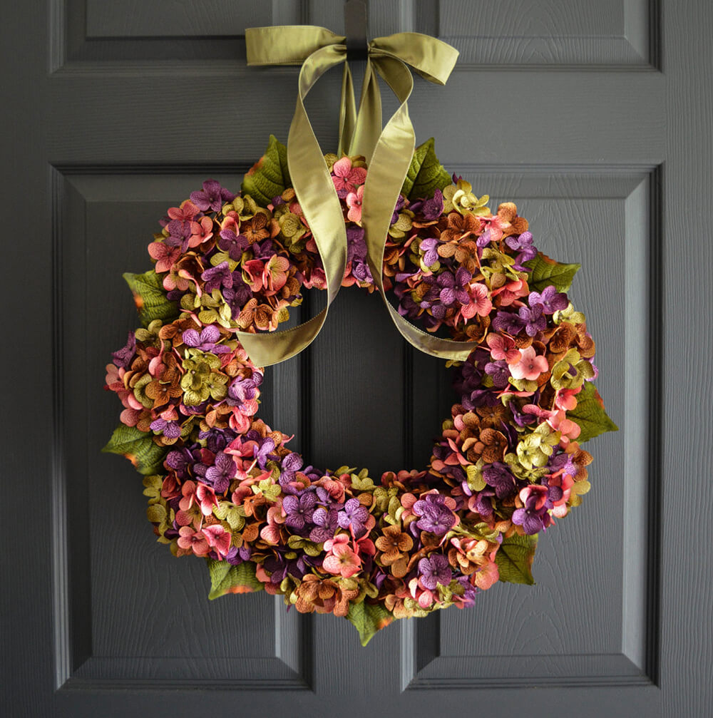 Muted Summer Wreath with Hydrangeas