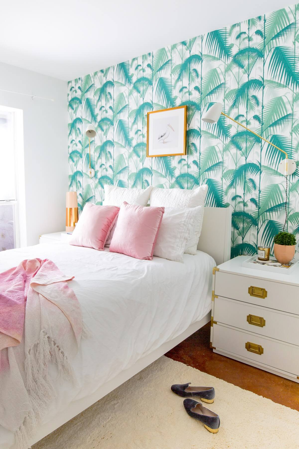 Pink, White, and Turquoise with Palm Wallpaper