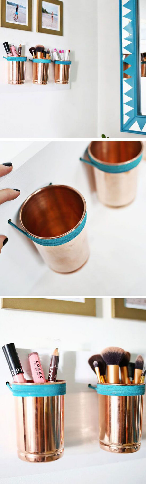 Upcycled Copper Cup Makeup Brush Organizers