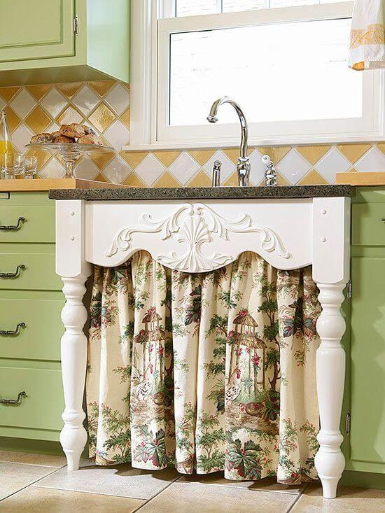 Country Style Under-Sink Curtain With Table Leg Frame & 24 Best Kitchen Cabinet Curtain Ideas and Designs for 2019