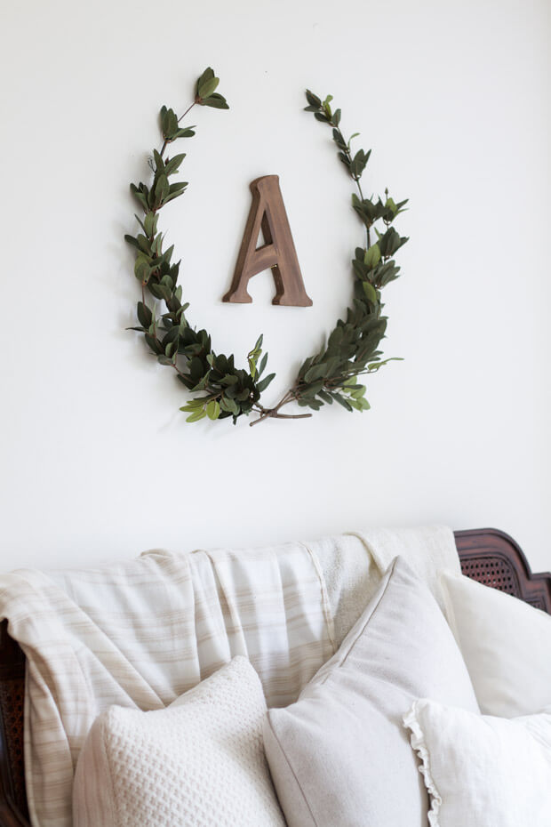 Lovely Myrtle Wreath with Initial Letter