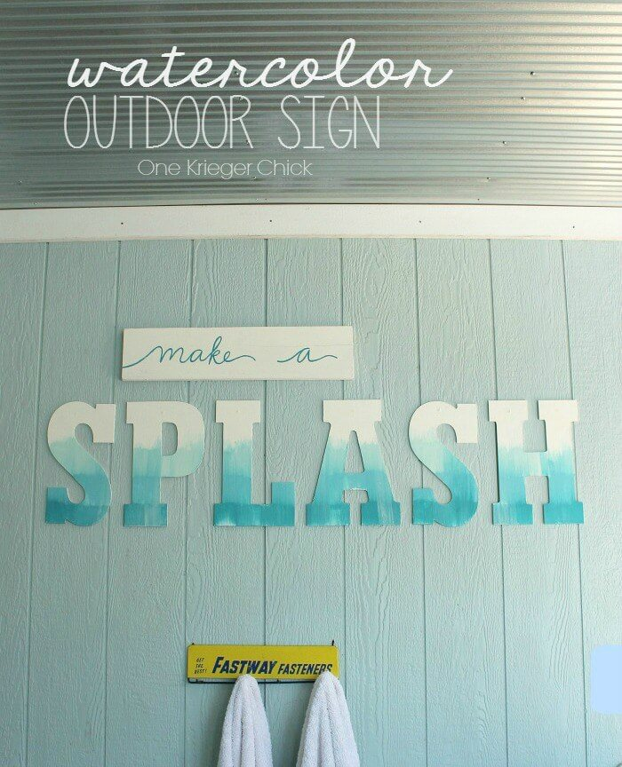 Watercolor Look Sign with Oversized Letters