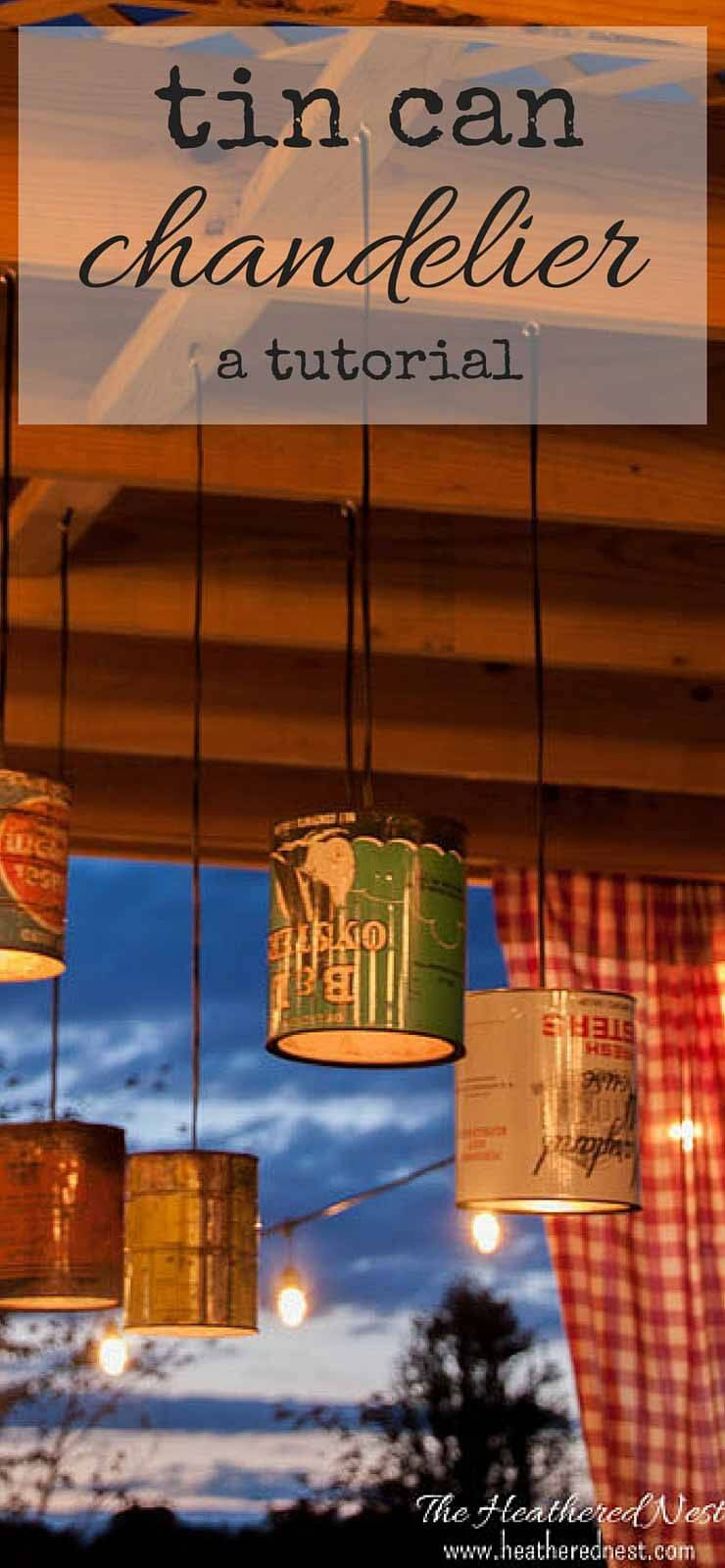 Make Your Own Chandelier with Tin Cans