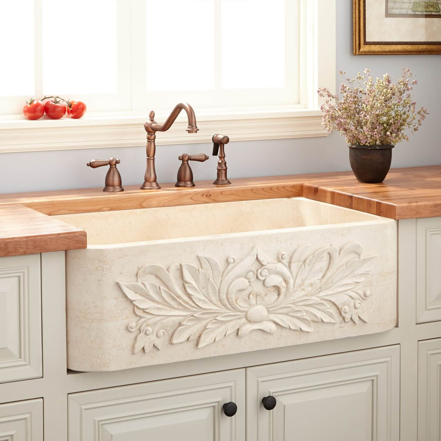 Ornately Carved Sink for your Farmhouse Kitchen