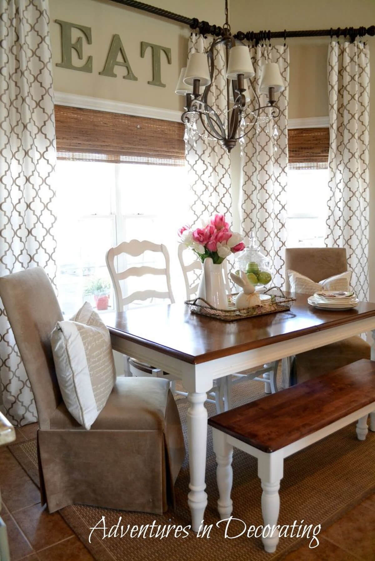 Classy Patterned Curtains In The Dining Room