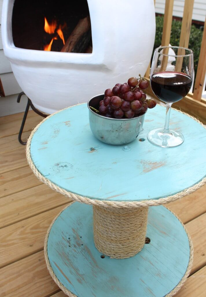 Rope Wrapped Spool Table for the Patio