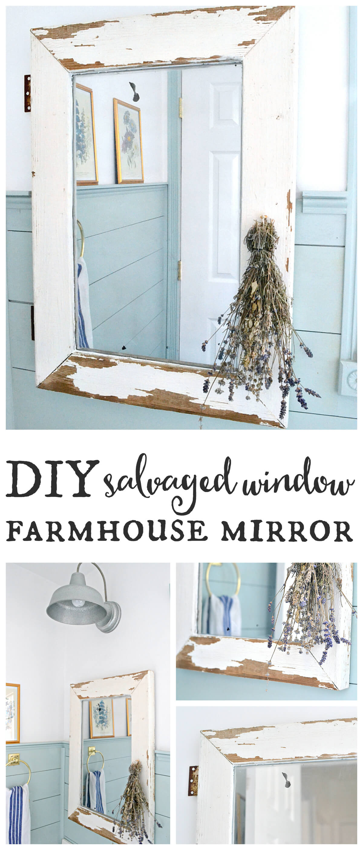 Distressed White Window Farmhouse Mirror