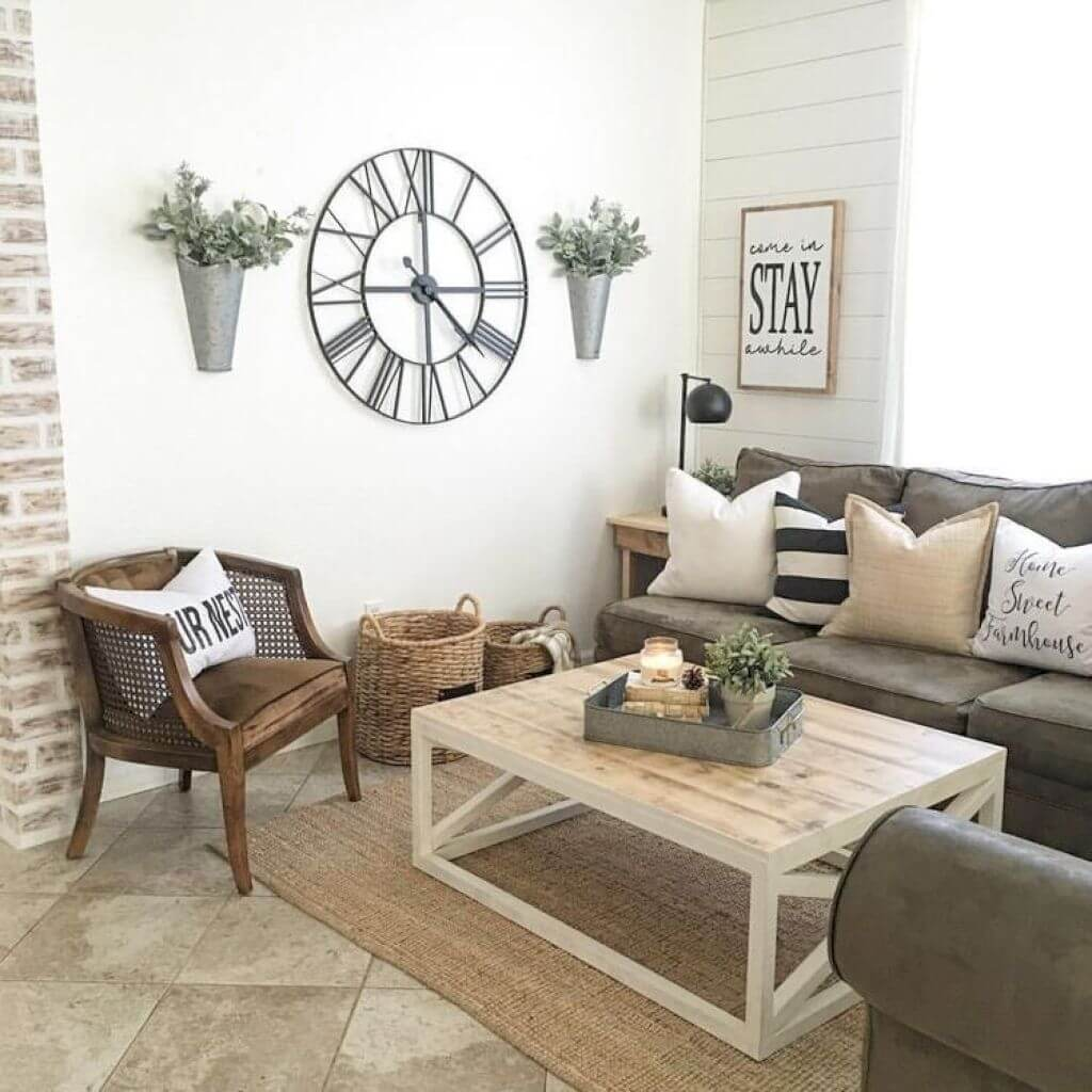 33 best rustic living room wall decor ideas and designs for 2019oversized clock, wall vases, and \u201cstay\u201d sign
