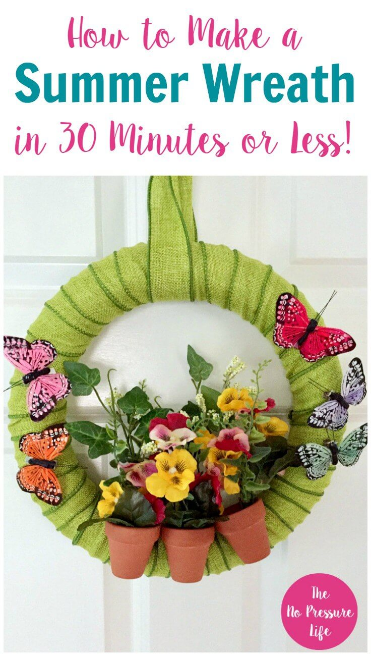 Flower Garden Wreath with Butterflies