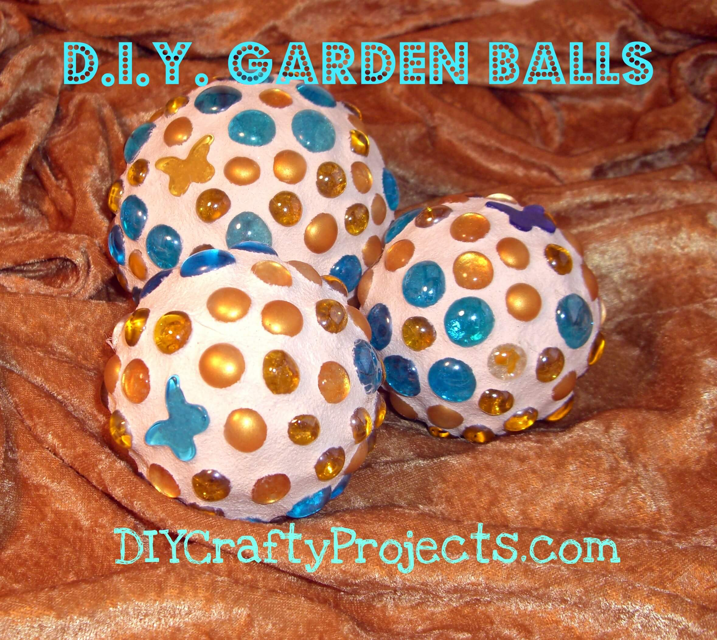 Glass Gem and Butterfly Garden Balls