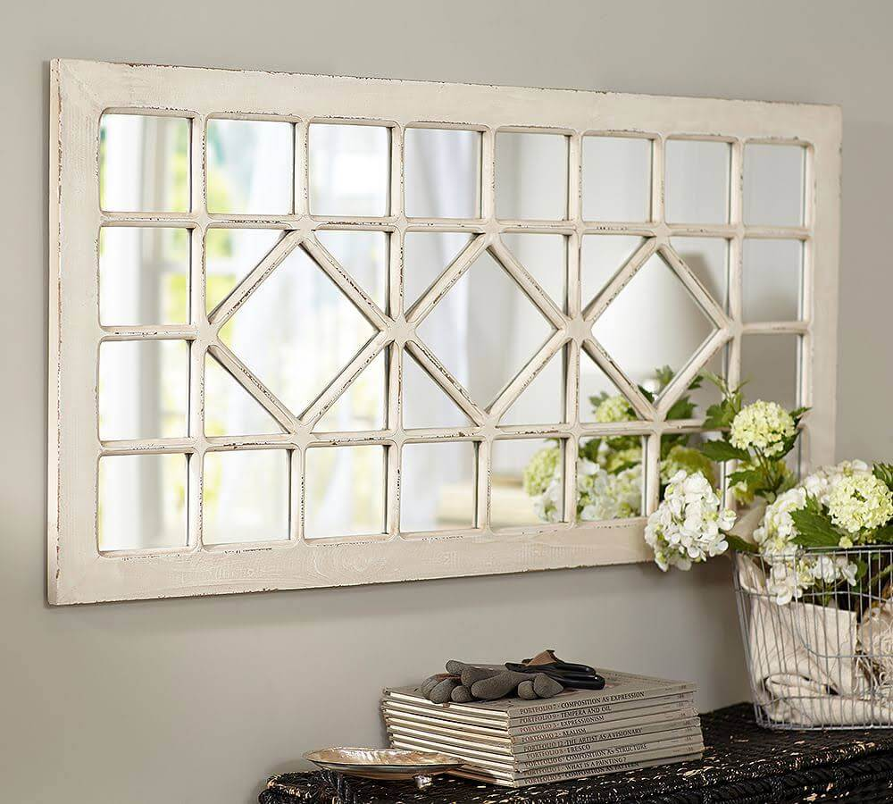 Diamond Patterned Weathered White Mirror