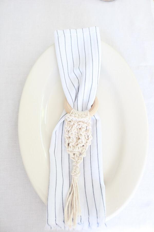 Crochet and Wood Napkin Rings