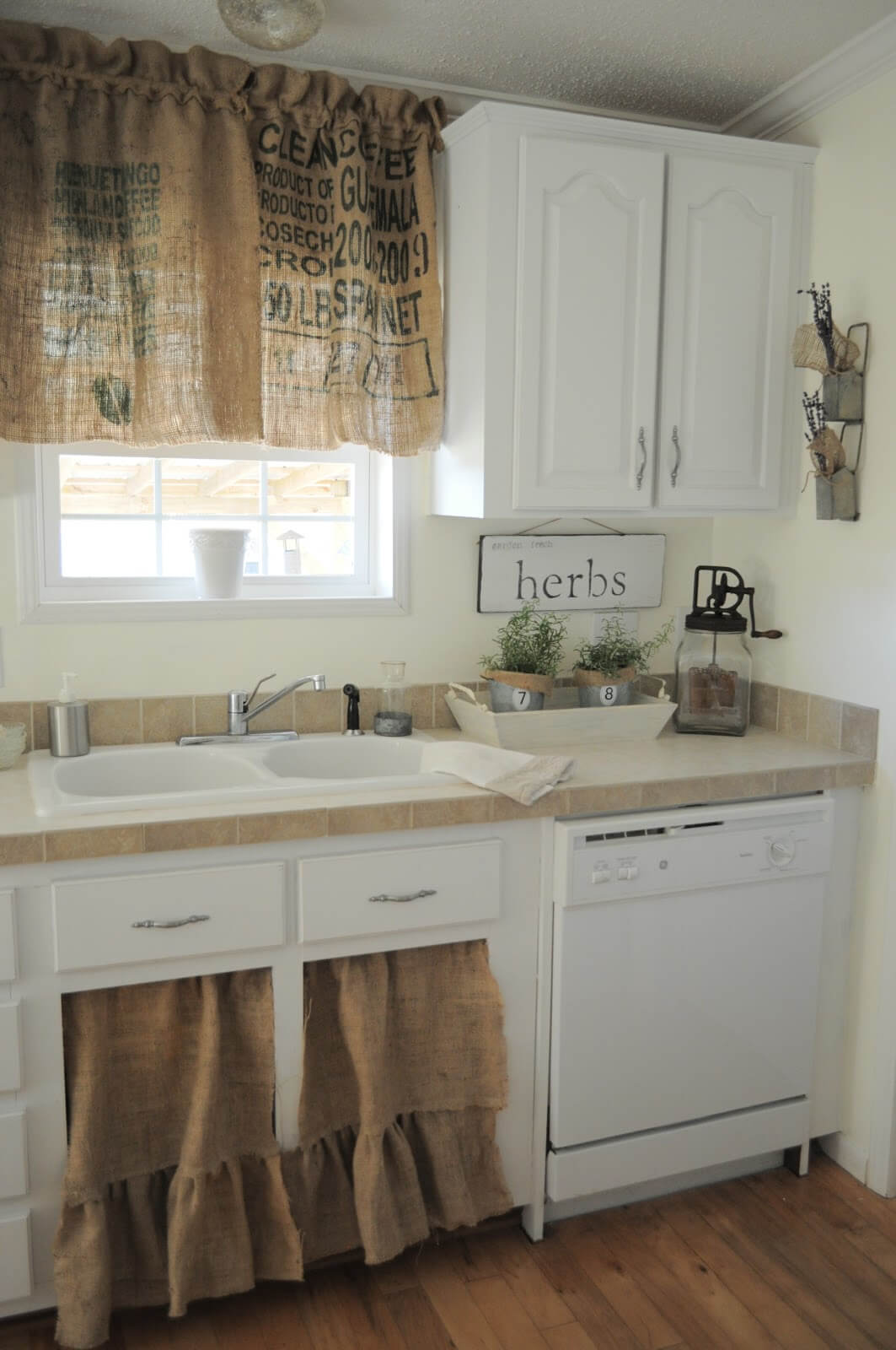 Burlap Cabinet Curtains With Ruffle Accent