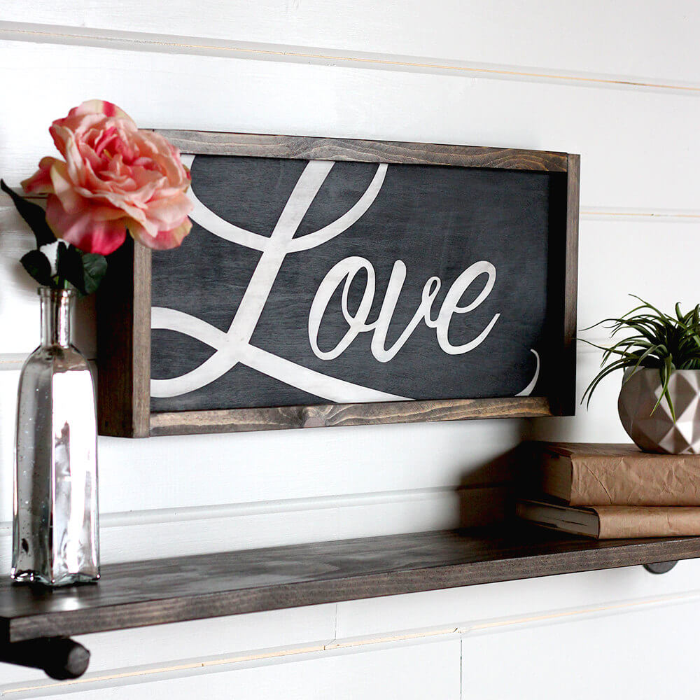 "Shadow Box ""Love"" Sign with Matching Shelf"