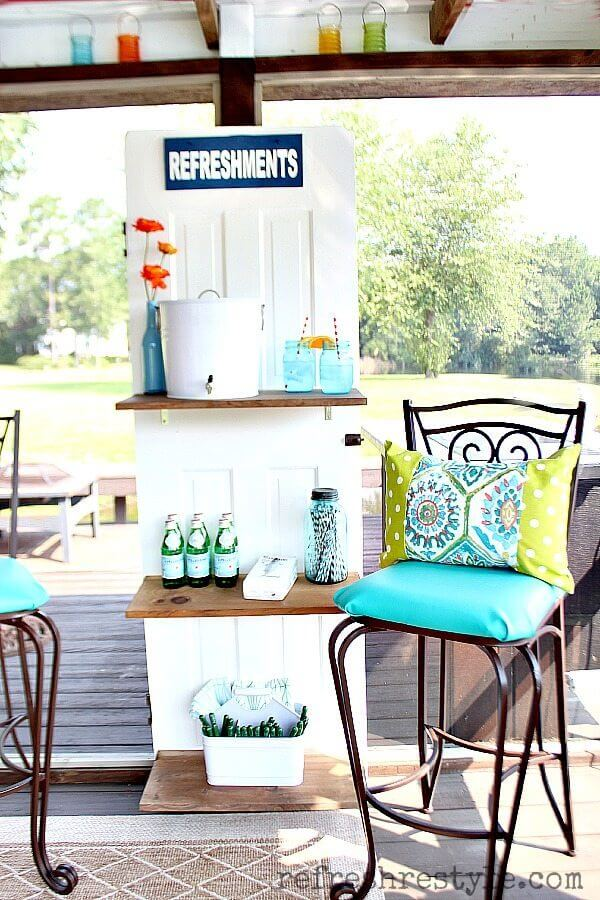 Repurposed Door makes a Beverage Station
