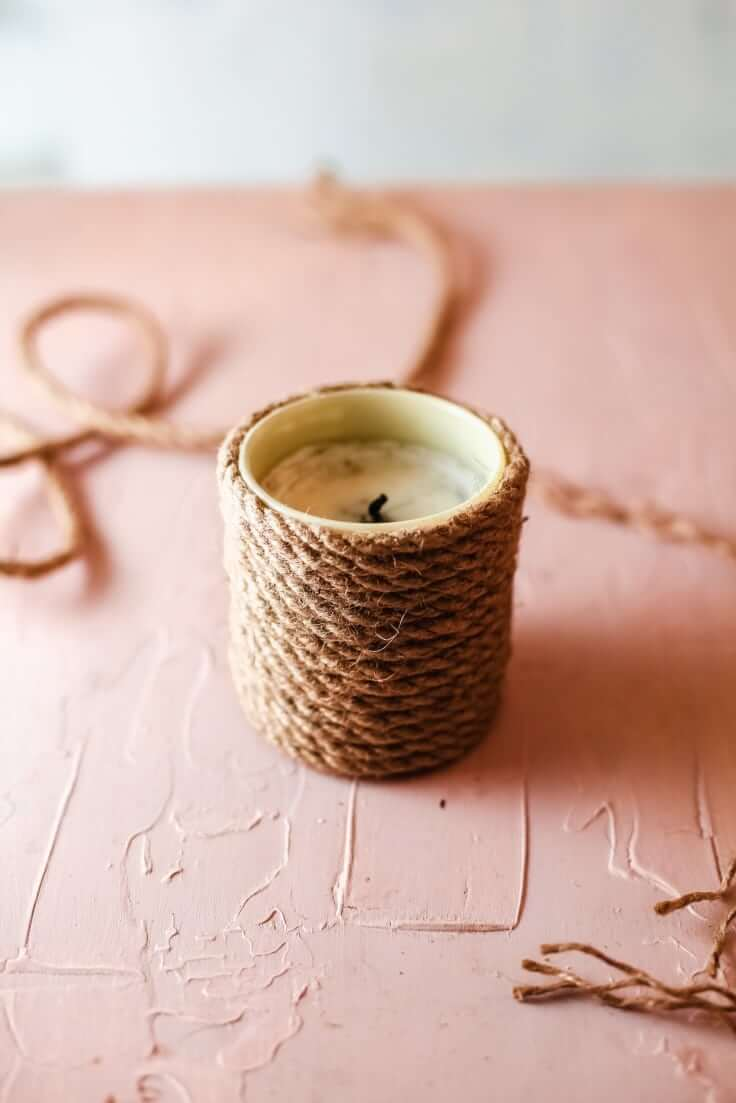 Rope Bound Glass Candle Holder