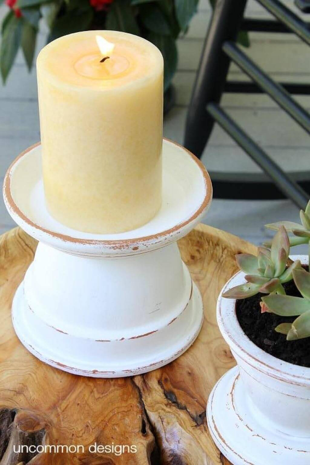 Pillar Candle Stand with Clay Pots