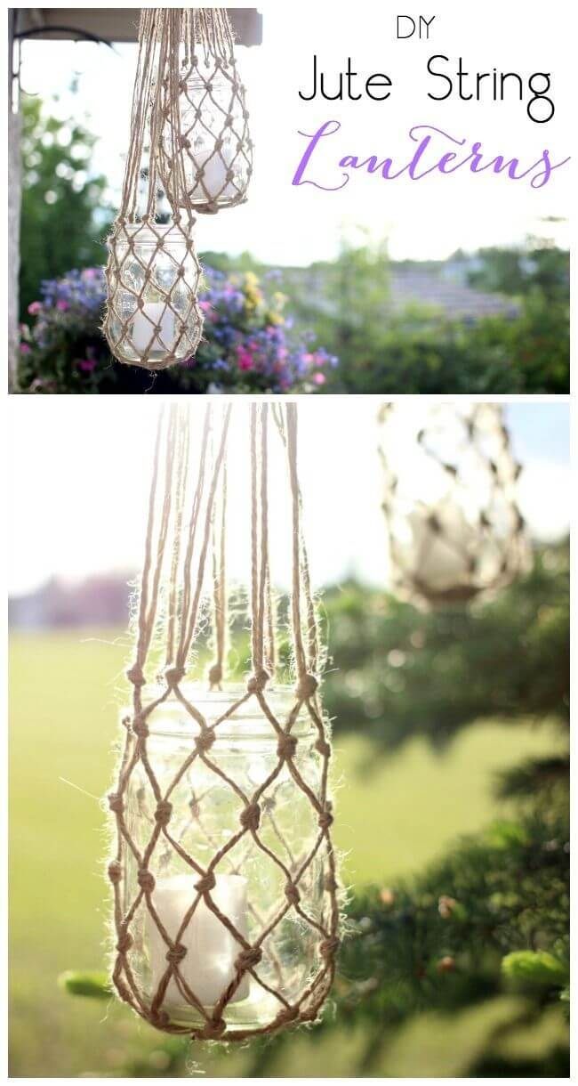 Knotted Jute String Lanterns with Candle Holders
