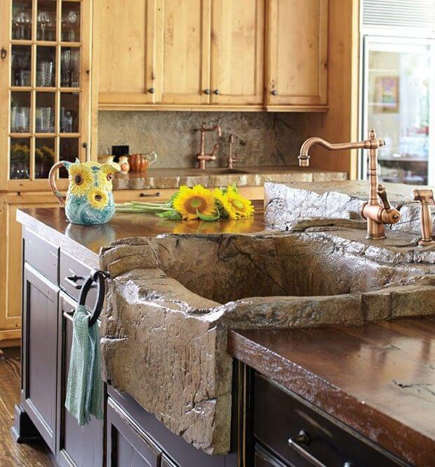 Rustic and Natural Looking Stone Sink