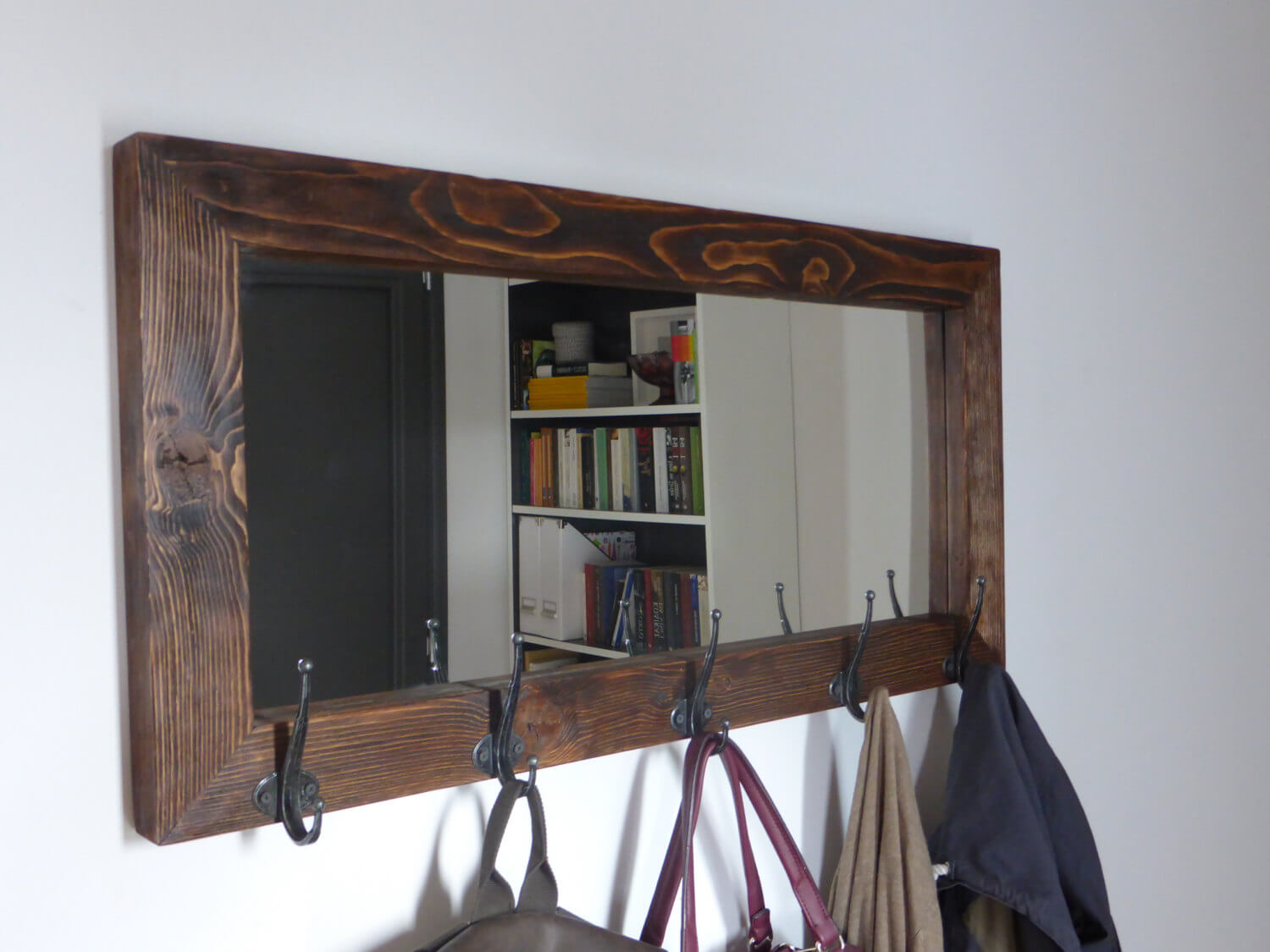 Practical Mirror with Thick Frame and Hooks