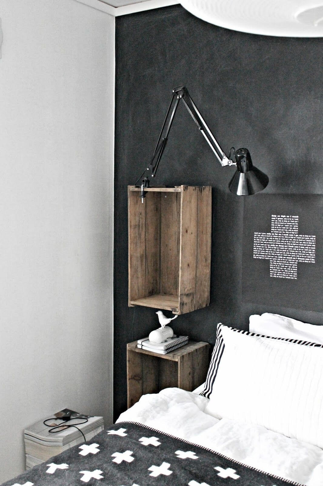 Black Wall with Hanging Crates