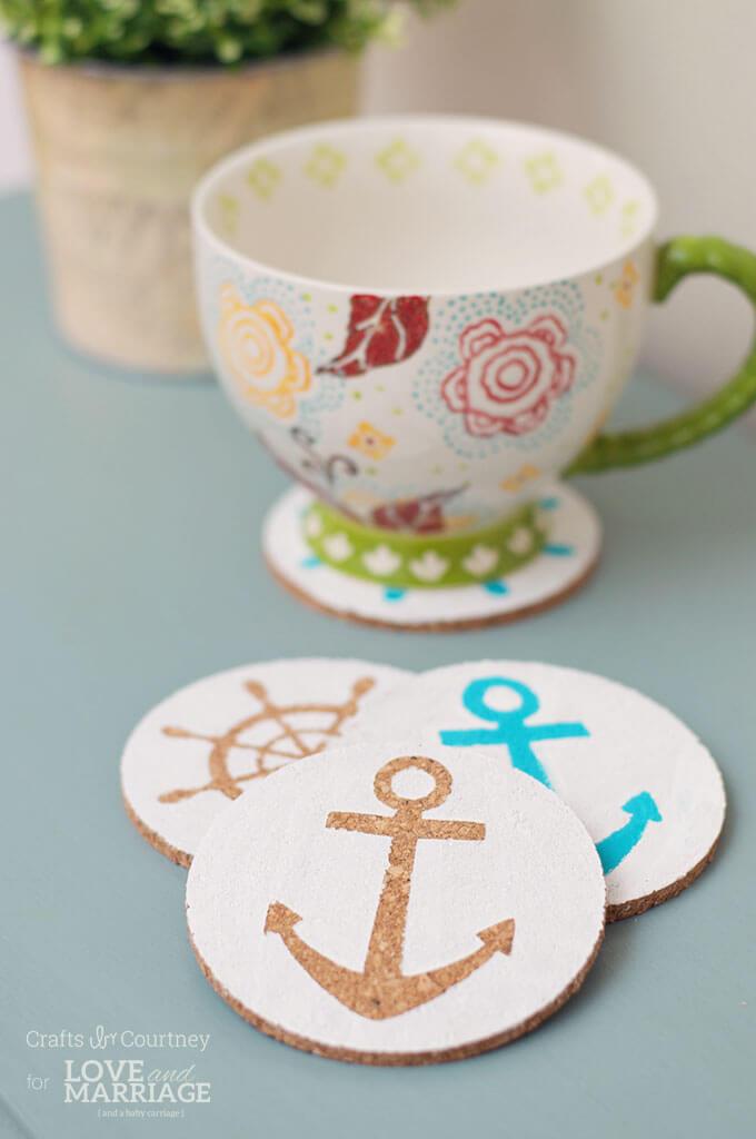Fun Sailing Theme Cork Coasters