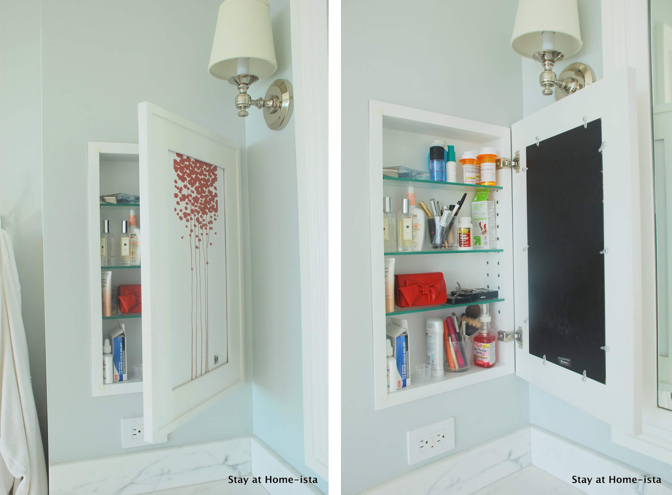 DIY Recessed Medicine Cabinet with Artwork Door