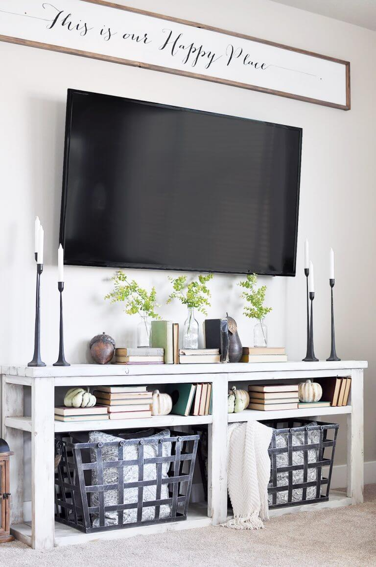 Scripted Sign Hung Over The TV. Source: Cherishedbliss.com. This Living  Room Wall Decor ...