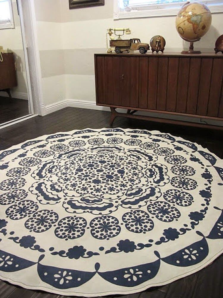 Upcycled Table Cloth Rug Design