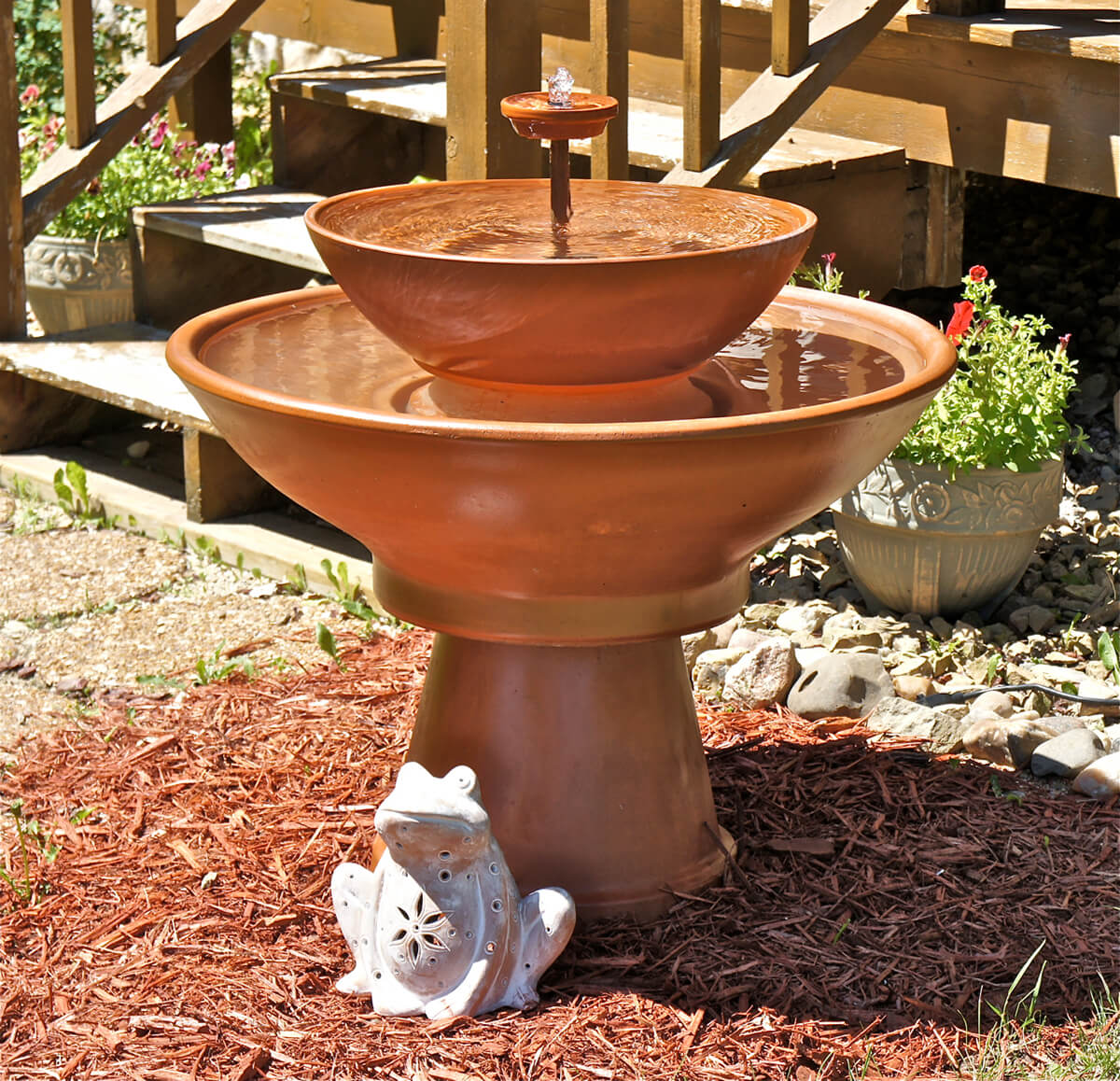Use Clay Flower Pots in a Fountain