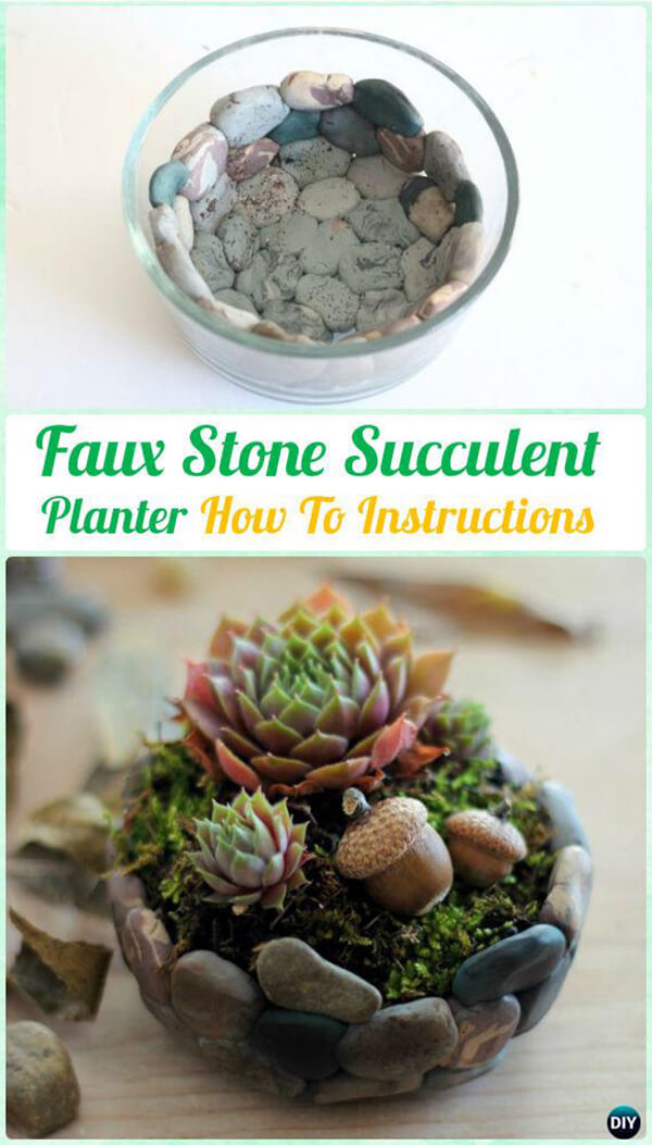 Create a Faux Stone Planter with Succulents