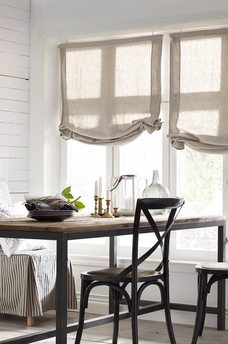 Understated Beige Curtains for a Sunny Room